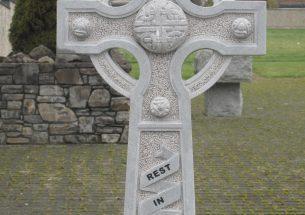 Hand carved Ross Limestone Celtic cross
