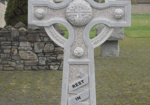 Hand carved Ross Limestone Celtic cross